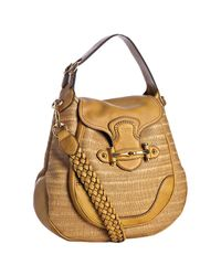 Gucci | Yellow Straw New Pelham Large Shoulder Bag | Lyst