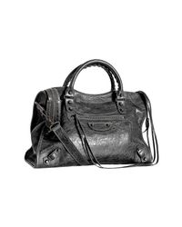 Balenciaga | Gray Anthracite Lambskin City Medium Satchel | Lyst