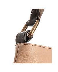 Céline - Brown Tan Goatskin Stripe Detail Shoulder Bag - Lyst