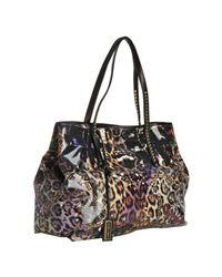Jimmy Choo | Black Leopard Print Glazed Canvas Scarlet Small Tote Bag | Lyst