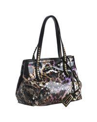 Jimmy Choo - Black Leopard Print Glazed Canvas Scarlet Small Tote Bag - Lyst