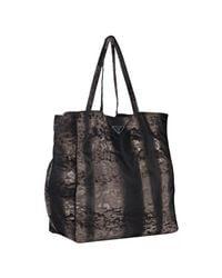 Prada | Brown Printed Nylon Tote Bag | Lyst