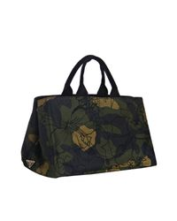 Prada - Green Camouflage Canvas Large Floral Print Tote - Lyst