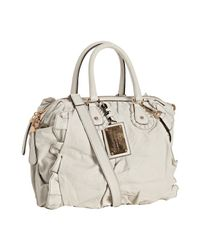 Dolce & Gabbana | White Nappa Leather Ruffle Trim Top Handle Bag | Lyst