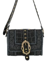 Emilio Pucci | Black Suede Croc Print Shoulder Bag | Lyst