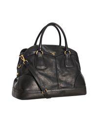 Prada | Black Calfskin Large Bauletto Bowling Bag | Lyst