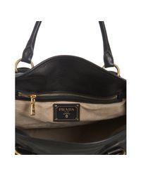 Prada - Black Calfskin Large Bauletto Bowling Bag - Lyst