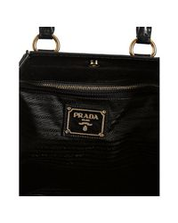 Prada - Black Vitello Shine Leather Large Frame Satchel - Lyst