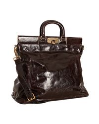 Prada | Dark Brown Vitello Shine Leather Large Frame Satchel | Lyst