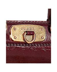 Prada - Red Amaranto Vitello Shine Leather Small Frame Satchel - Lyst