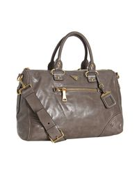 Prada | Brown Argilla Vitello Shine Leather Bauletto Satchel | Lyst