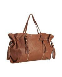 Sorial | Brown Brandy Leather Zip Detail Large Tassel Tote | Lyst