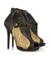 Alexander McQueen | Black Winged Leather Ankle Boots | Lyst