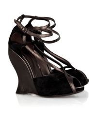 Bottega Veneta - Black Metallic Leather and Suede Wedge Sandals - Lyst