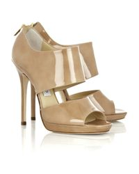 Jimmy Choo | Natural Private Patent-leather Sandals | Lyst