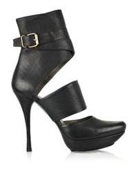 Lanvin | Black Cutout Leather Ankle Boots | Lyst