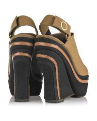 Marni - Brown Canvas Wedge Slingback Clogs - Lyst
