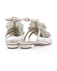 Valentino | White Flower Leather Sandals | Lyst