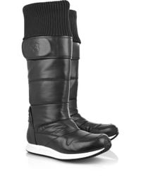 Y-3 | Black Leather and Shell Snow Boots | Lyst