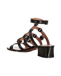 Alaïa | Black Studded Leather T-strap Block Heel Sandals | Lyst