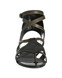 Balenciaga - Black Striped Canvas Ankle Wrap Sandals - Lyst