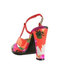 Balenciaga - Pink Satin Multicolor Floral Printed Sandals - Lyst