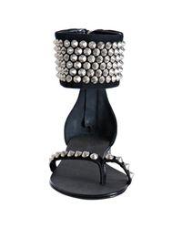 Balmain - Black Suede Studded Flat Thong Sandals - Lyst