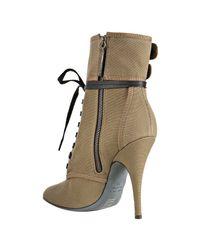 Balmain - Natural Khaki Canvas Double Buckle Lace-up Boots - Lyst