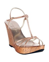 Bettye Muller | Pink Rose Metallic Leather Gimlet Wedge Sandals | Lyst