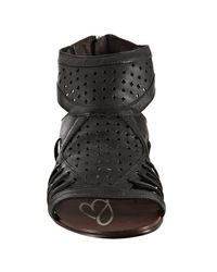 Boutique 9 | Black Perforated Leather Phiona Back Zip Sandals | Lyst