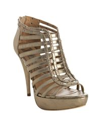 Boutique 9 | Metallic Gold Caged Leather Grayson Platform Sandals | Lyst