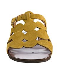 Chie Mihara | Yellow Curry Suede Wala Dot Cutout Sandals | Lyst