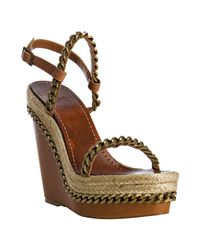 Christian Louboutin | Brown Leather and Chain Macarena 120 Wedges | Lyst