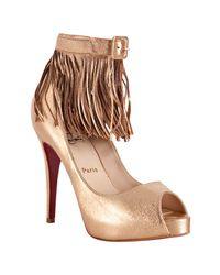 Christian Louboutin | Metallic Copper Leather Short Tina 120 Fringe Pumps | Lyst