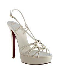 Christian Louboutin - White Ivory Leather Disco Lilou 140 Platform Sandals - Lyst