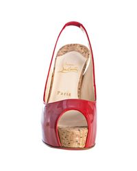 Christian Louboutin - Red Patent Calf So Private 120 Slingbacks - Lyst