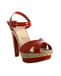 Christian Louboutin | Red Patent Lafalaise Platform Sandals | Lyst