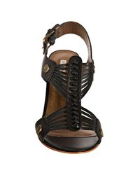 Twelfth Street Cynthia Vincent - Black Strappy Leather Titus Peep Toe Sandals - Lyst