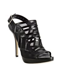 Dior | Black Leather and Mesh Cut-out Platform Sandals | Lyst
