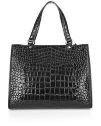 DKNY - Black Crocodile Work Shopper - Lyst