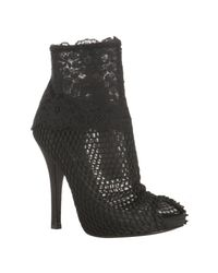 Dolce & Gabbana | Black Mesh and Floral Lace Peep Toe Booties | Lyst