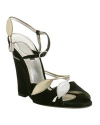 Dolce & Gabbana | Black Suede Floral Detail Wedge Sandals | Lyst