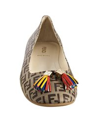 Fendi - Brown Mahogany Coated Zucca Canvas Tassel Flats - Lyst