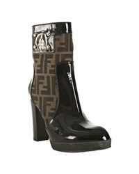 Fendi | Brown Tobacco Zucca Canvas and Patent Platform Boots | Lyst