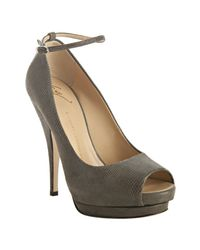 Giuseppe Zanotti | Gray Elephant Grey Printed Suede Ankle Strap Pumps | Lyst