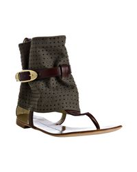 Giuseppe Zanotti | Green Olive Canvas Rock Studded Ankle Wrap Sandals | Lyst