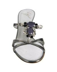 Giuseppe Zanotti - Metallic Silver Mirrored Leather Stone Slide Sandals - Lyst