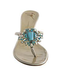 Giuseppe Zanotti - White Leather Stone Detail Thong Sandals - Lyst