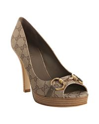 Gucci | Natural Beige Gg Canvas Hollywood Platform Peep Toe Pumps | Lyst