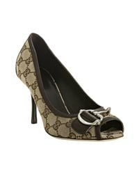 Gucci | Natural Beige Gg Canvas Techno Horsebit Peep Toe Pumps | Lyst